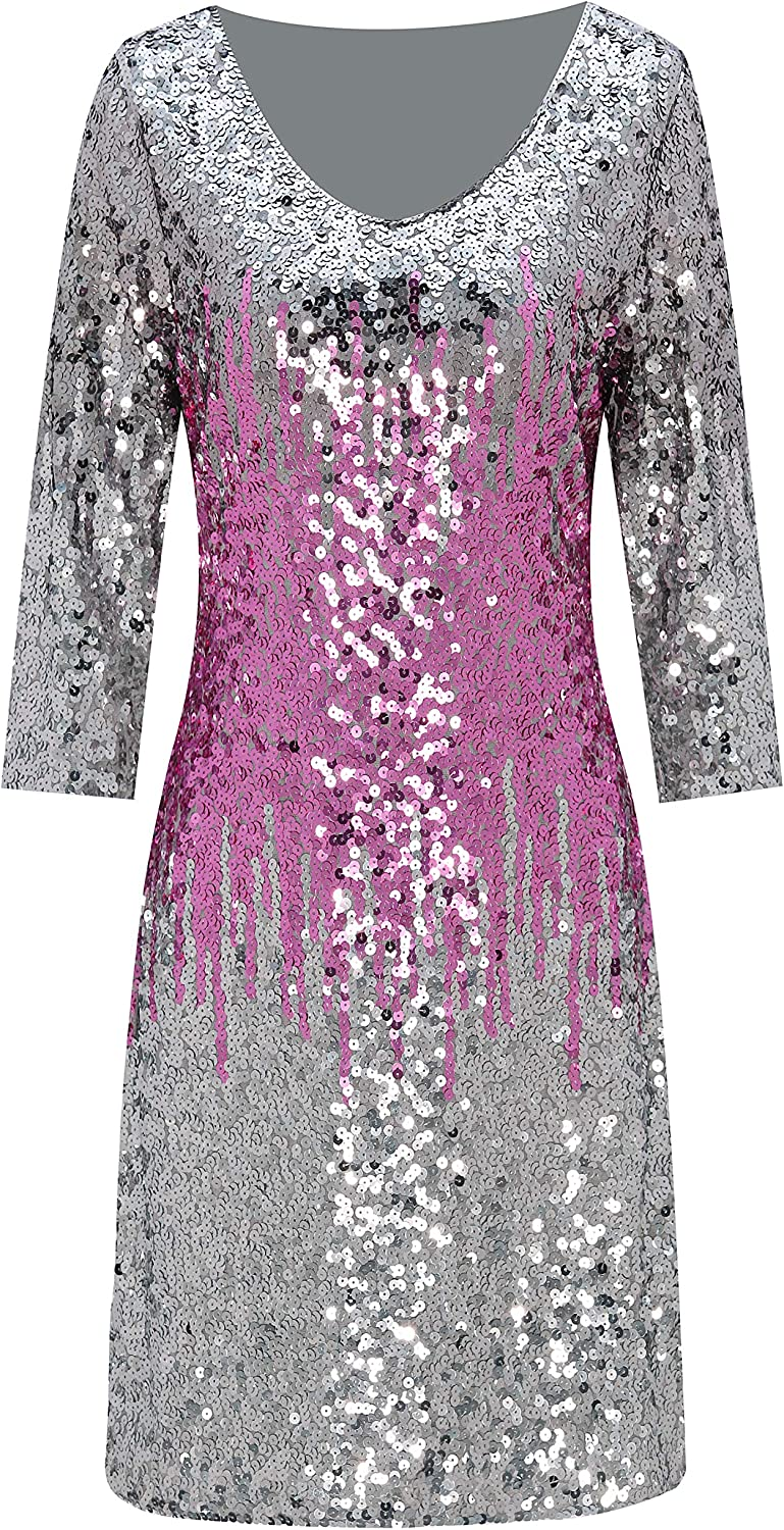 Metme Womens Gradient Sequin Stretchy V Neck Dress 2//3 Sleeves Embellished Shimmer Glitter Clubbing Party Dress