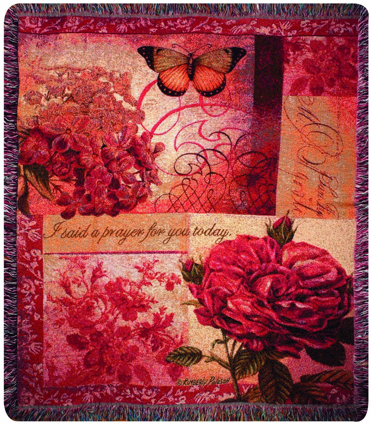 Manual Inspirational Collection 50 x 60-Inch Tapestry Throw with Verse, Spring Blooms by Manual Woodworker