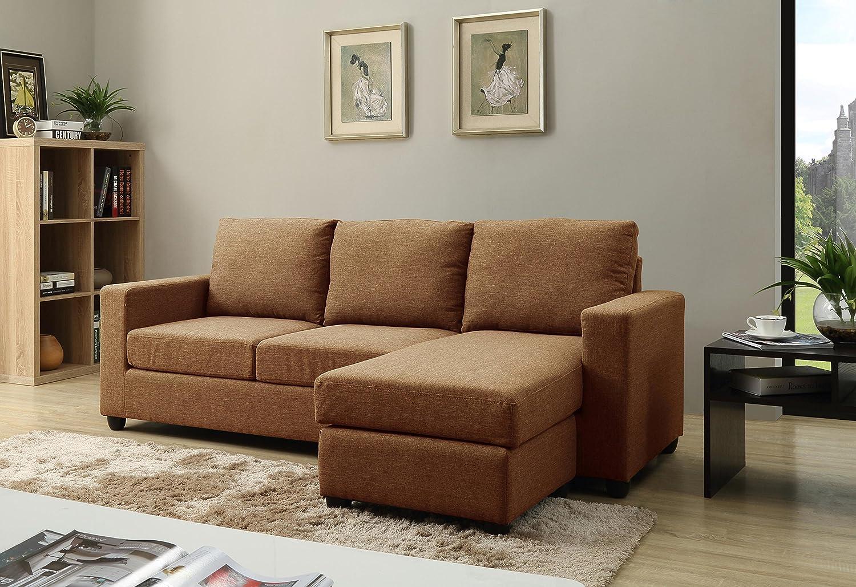 Amazon com nhi express alexandra convertible sectional sofa brown kitchen dining