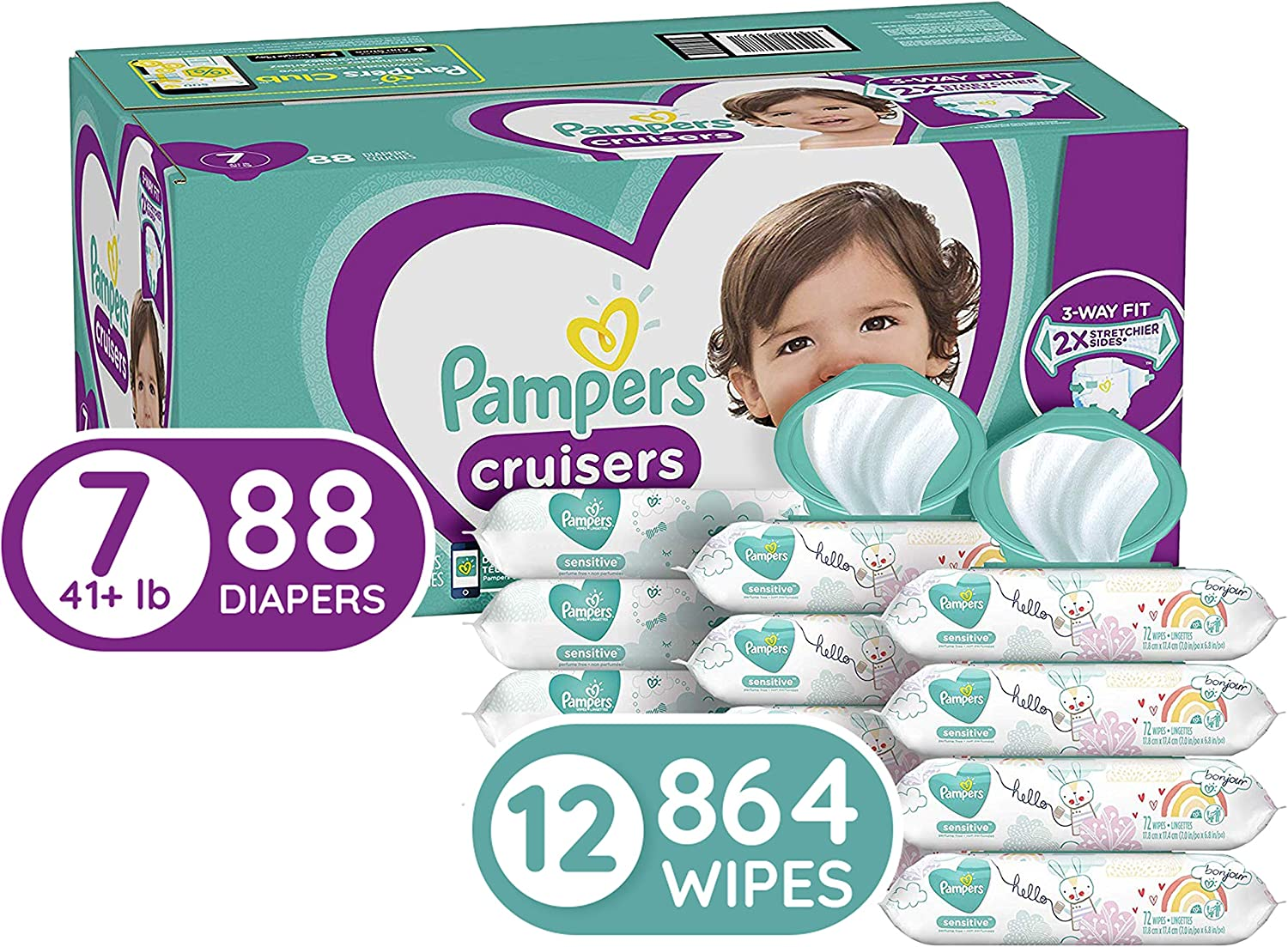 88 Count Pampers Cruisers Disposable Baby Diapers Diapers Size 7