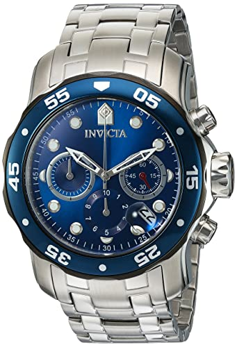 Invicta Mens Pro Diver Quartz Stainless Steel Diving Watch, Color:Silver-