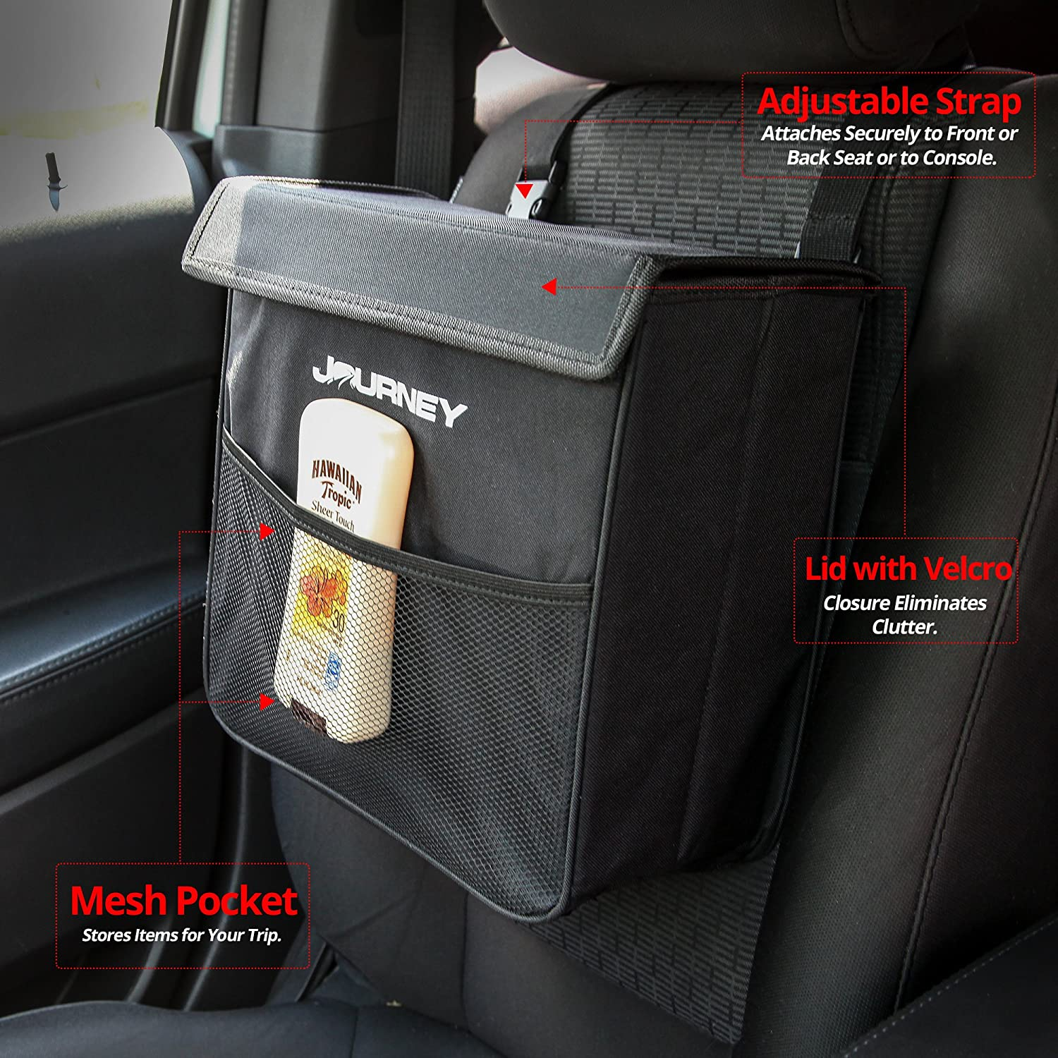 Large Black Leakproof Weighted Car Garbage Can with Lid Car Trash Can Keeps Vehicle Clutter Free Red Earth Naturals 4350404599