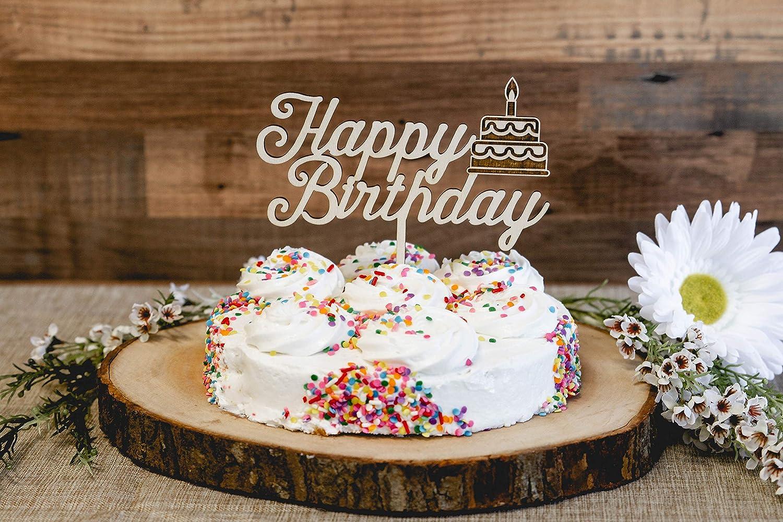 Awe Inspiring Amazon Com Happy Birthday Wood Cake Topper With Birthday Cake Birthday Cards Printable Benkemecafe Filternl