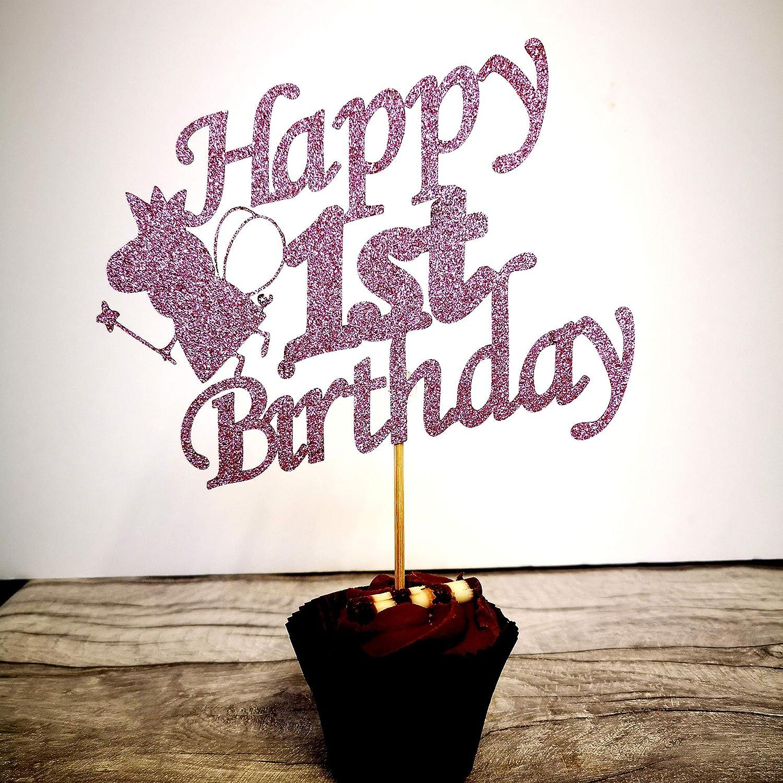 1st birthday Peppa Pig Glitter Cake Topper