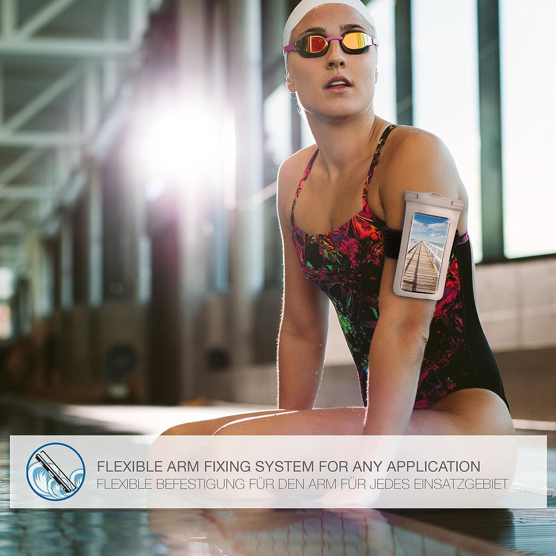Blau ONEFLOW/® wasserdichte Handy-H/ülle f/ür alle Smartphones Aqua-Blue Touch- /& Kamera-Fenster Armband und Schlaufe zum Umh/ängen