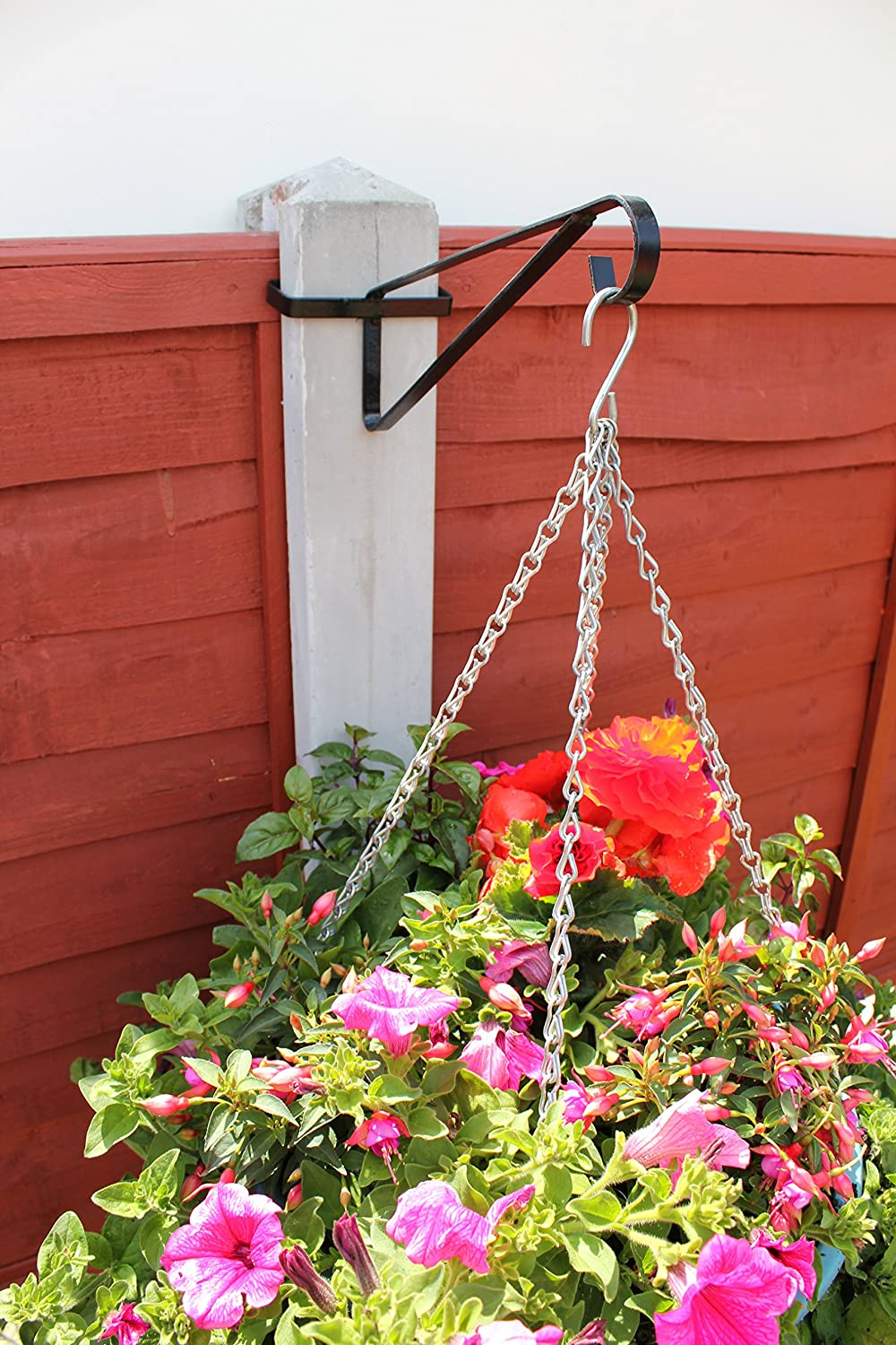 MyGardenGreen Hanging Basket Brackets for Concrete Posts x 4 supports Easy Fill baskets