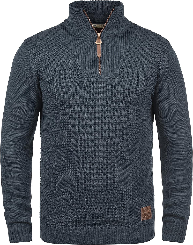 !Solid Tommy Jersey Suéter Troyer para Hombre con Cuello Alto con Cremallera