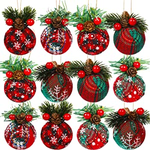 AMAZING TIME 12 Pieces Christmas Hanging Oranment Buffalo Plaid Fabric Ball for Christmas Tree Decor Party Supplies Decoration, 6 Styles
