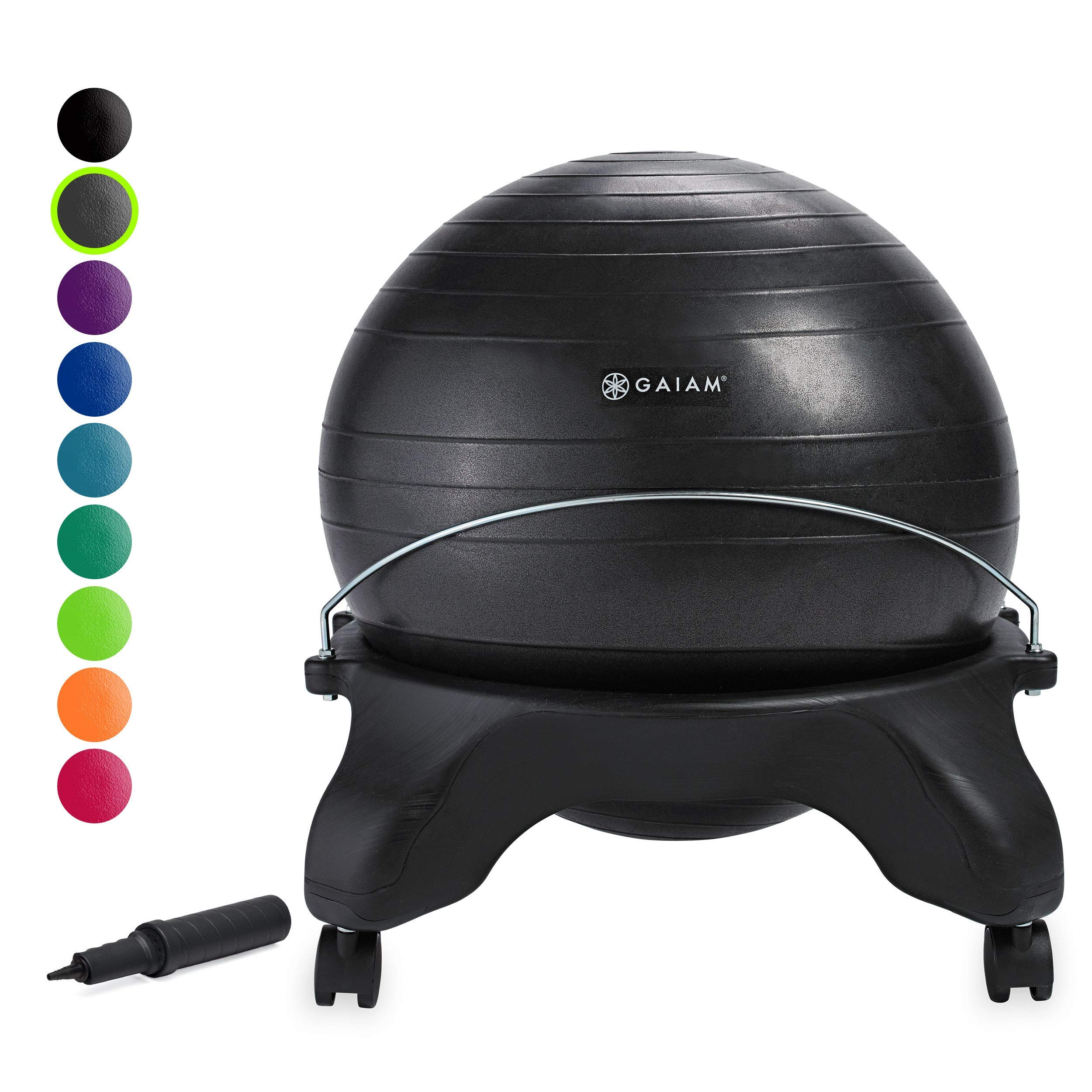 Gaiam Classic Backless Balance Ball Chair - Exercise Stability Yoga Ball Premium Ergonomic Chair for Home and Office Desk with Air Pump, Exercise Guide and Satisfaction Guarantee, Charcoal (Renewed)