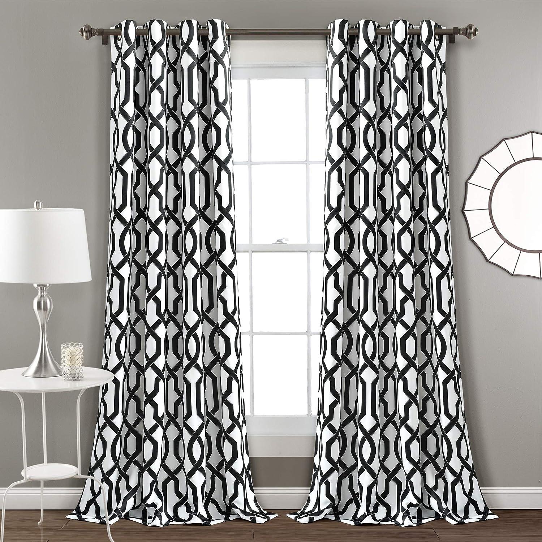 "Lush Decor Edward Trellis Curtains Room Darkening White & Black Window Panel Set for Living, Dining, Bedroom (Pair), 84"" x 52 L, White and Black"