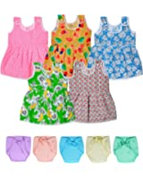 Sathiyas Baby Girls Dresses and Baby Towel (Pack of 6) (asvinf35_wNpy_Multicolor_0 - 6 Months)
