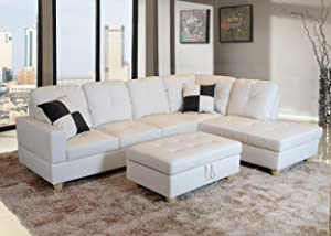 Beverly Fine Funiture Sectional Sofa Set, 92B White