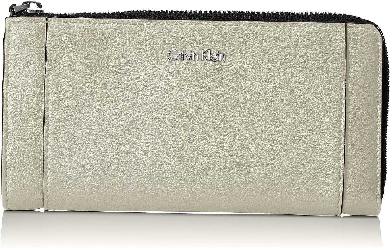 Calvin Klein - Metropolitan Large Zip Around S, Carteras Mujer, Gris (Cement/Off White), 3x10x20 cm (B x H T)