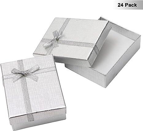 Cajas para Joyeria (Pack de 24) - Caja Joya Carton Plateado con ...