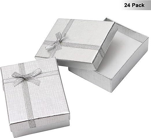 Kurtzy Cajas de Regalo Joyeria (Pack de 24) - (8,5x6,5x2,5cm) Plata Cajas de Regalo