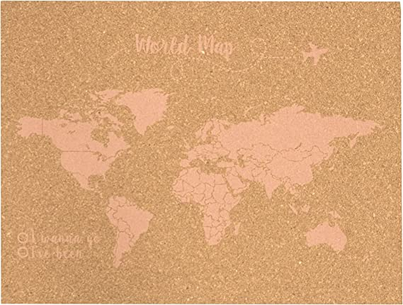 Decowood - Mapa Mundi de Corcho, Pequeño, para Marcar Tus Viajes ...