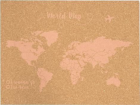 Decowood - Mapa Mundi de Corcho, Grande, para Marcar Tus Viajes por el Mundo y Colgar en la Pared, Rosa Coral - 90x60cm: Amazon.es: Hogar