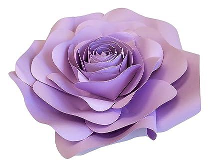 Decorinthebox Large Paper Flower 30cm 12 Inch Wedding Photography Flower Backdrop Birthday Wall Decor Fully Assembled Light Purple