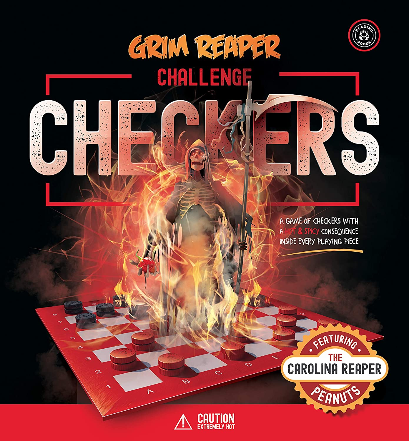 Grim Reaper Challenge Checkers the hottest, spiciest game of challenge checkers where every playing piece gets loaded with a hot and spicy consequences!