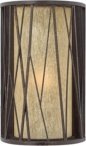 Hinkley 1154RB Elm – One Light Outdoor Wall Sconce, Regency Bronze Finish with Distressed Amber Etched Glass – Medium Base Lamping