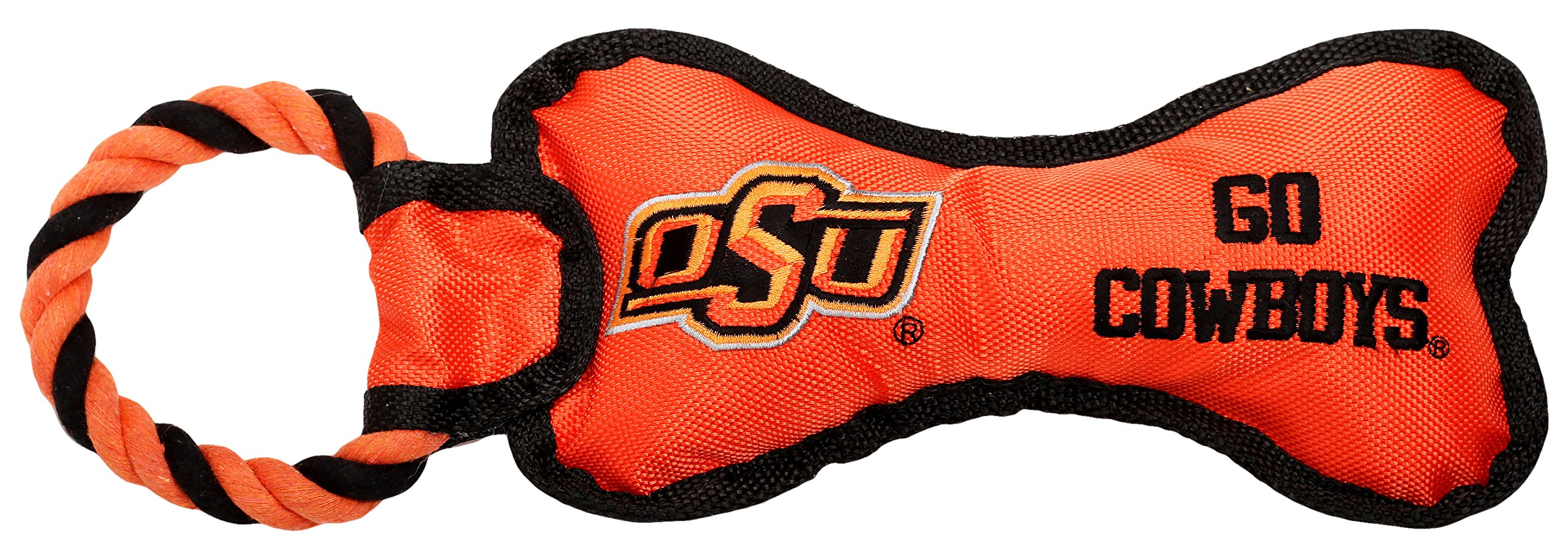Pet Goods Manufacturing BONERP-094 NCAA Oklahoma State Cowboys Bone with Rope Dog Toy