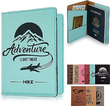 Shark Fish Genuine Leather Passport Holder Wallet Case Cover for Men Women