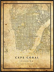 Cape Coral map Vintage Style Poster Print   Old City Artwork Prints   Antique Style Home Decor   Florida Wall Art Gift   Antique map Wall Art 20x30
