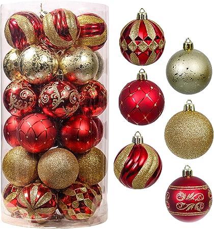 Valery Madelyn 30Pcs Bolas de Navidad de 6cm, Adornos Navideños para Arbol, Decoración de Bolas de Navidad Inastillable Plástico de Rojo y Dorado, Regalos de Colgantes de Navidad (Lujo): Amazon.es: Hogar