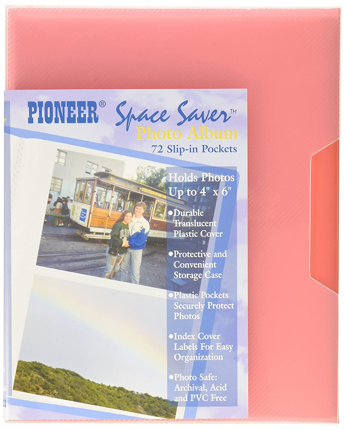 Pioneer Photo Albums CF-2 72-Pocket Poly Cover Space Saver Photo Album, Red CF-2/R