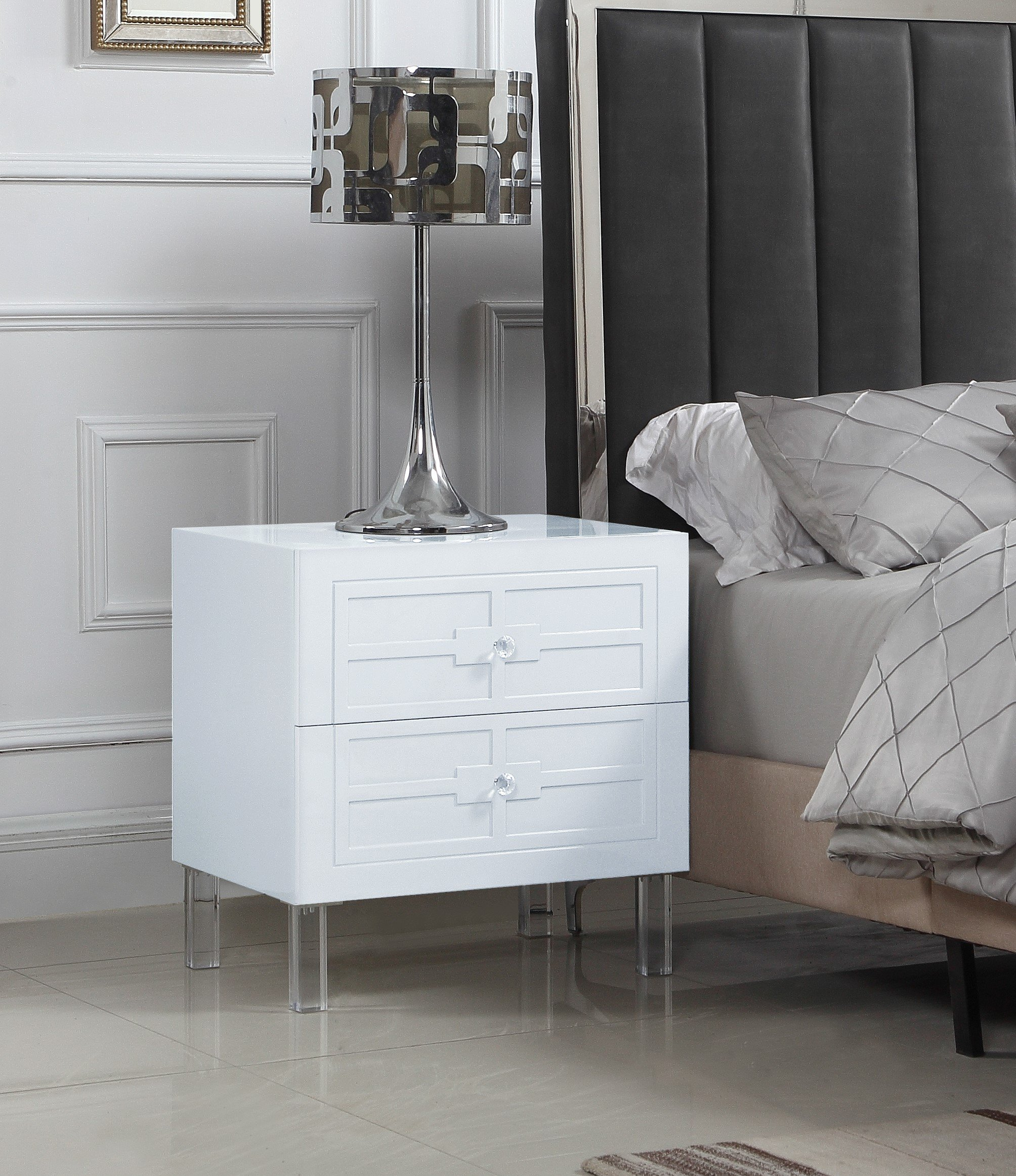 Iconic Home Naples Nightstand Side Table with 2 Self Closing Drawers Lacquer Acrylic Knob Legs, Modern Contemporary, White by Iconic Home