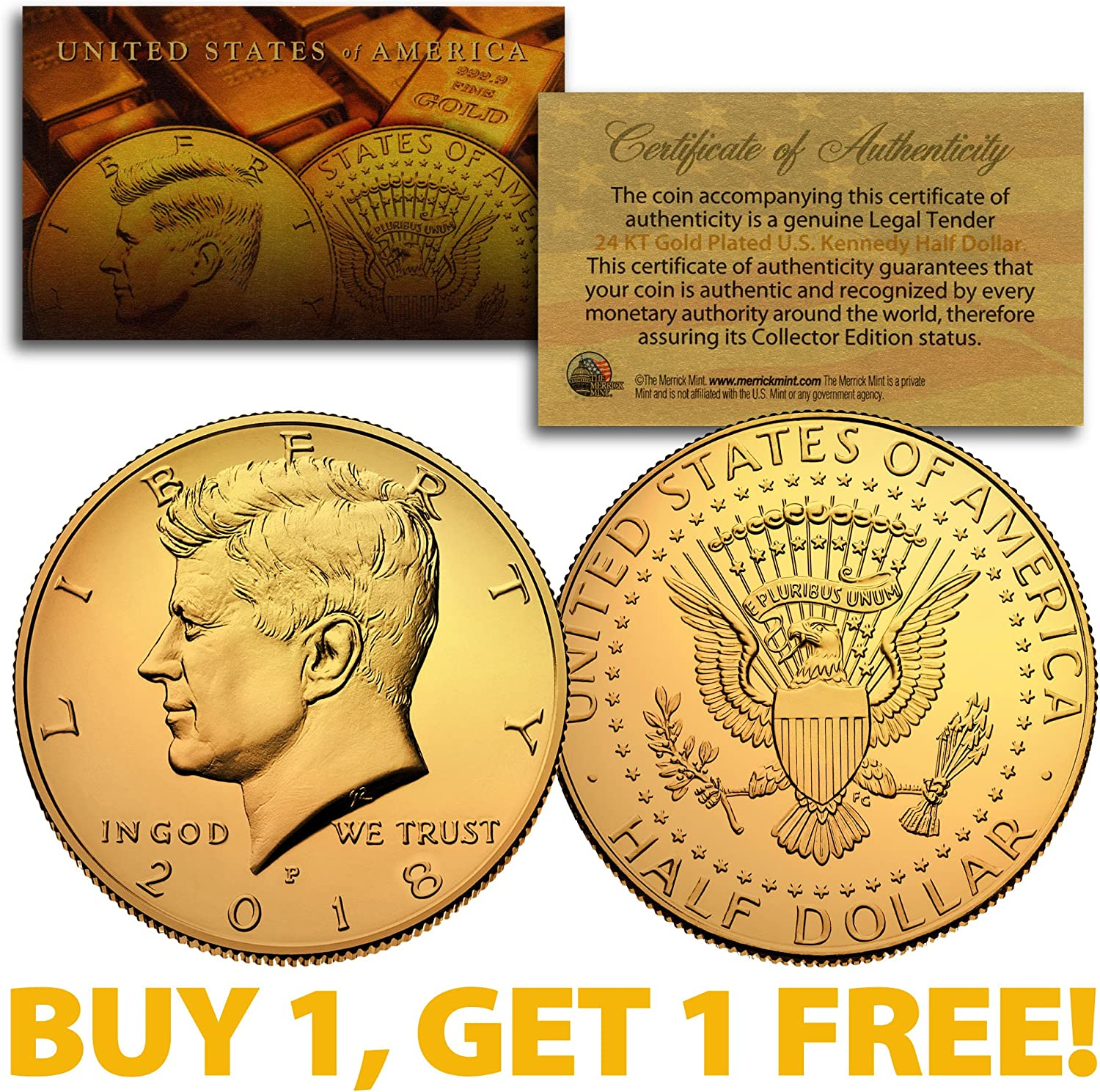 5 2017 DONALD TRUMP Dated OFFICIAL Inauguration 24K Gold Plated Tribute Coins