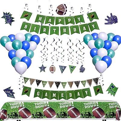 Football Party Decorations [81 Piece Set] | Football Party Supplies | Football Tablecloth | Football Gameday and Happy Birthday Banner | Football Pennants | Football Balloons | Hanging Swirls | Football Decorations: Toys & Ga