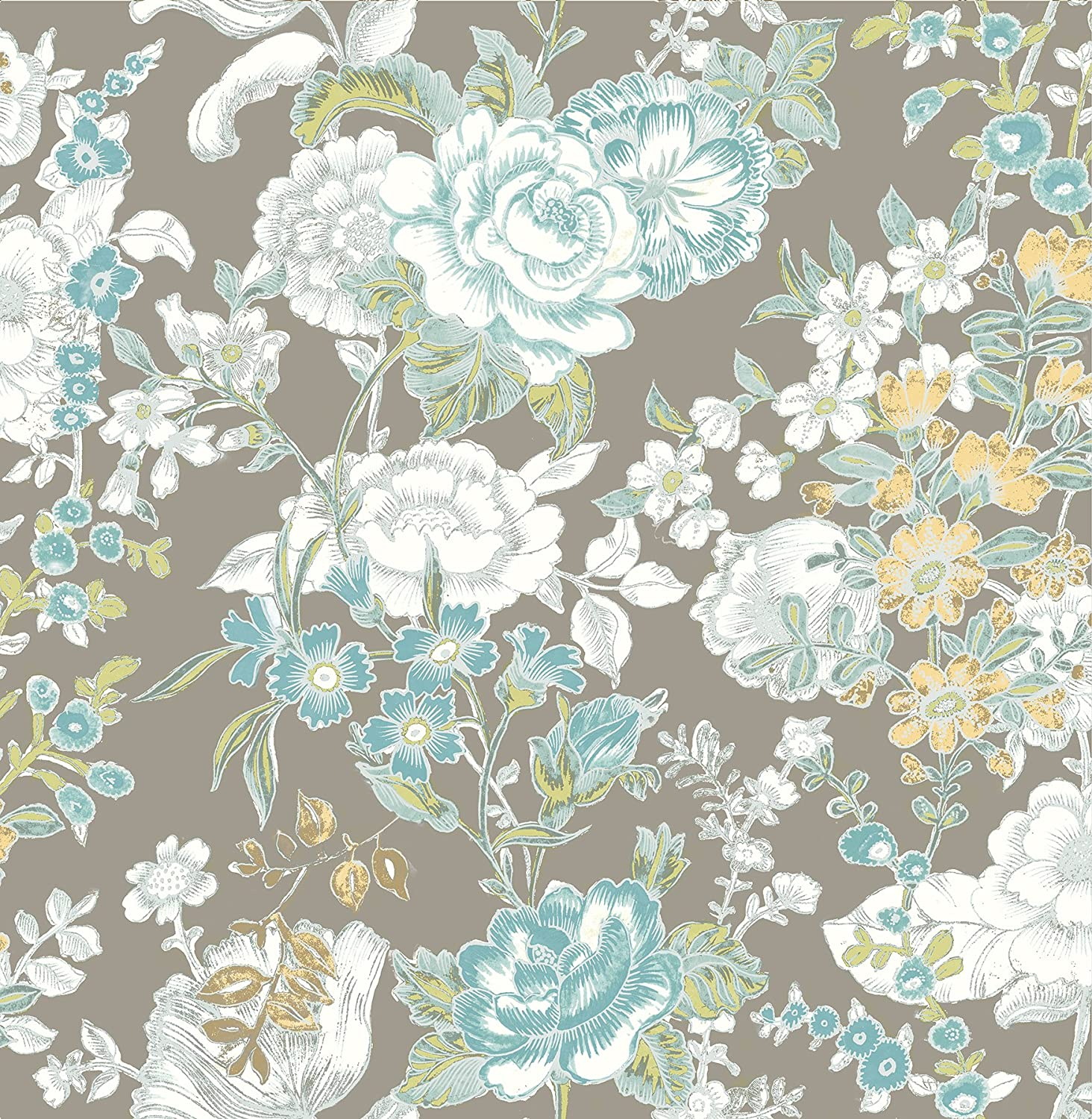 A Street Prints 1014 001849 Ainsley Boho Floral Wallpaper Grey