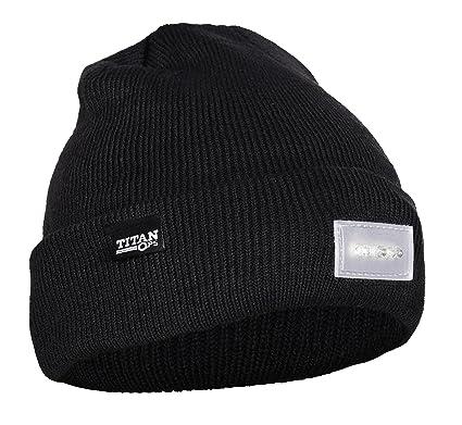 TitanOPS 5 LED UltraBright Winter Knit Flashlight Beanie Hat Cap for Running  Biking Skateboarding Outdoors c366f5ec3d0