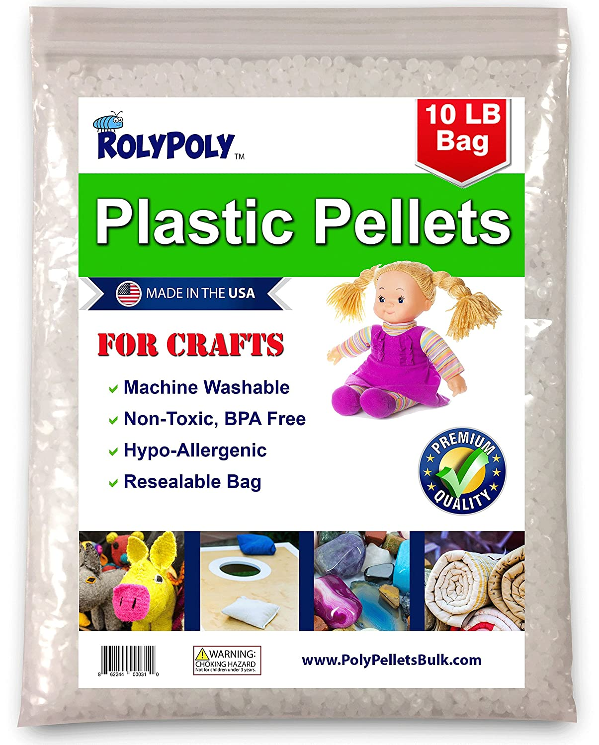 Plastic Pellets in Resealable Bag (10 LBS) for Weighted Blankets, Dolls/Toys, Lap Pads, Cornhole Bags, Bean Bags, I-Spy Bags, Rock Tumbler, Rifle Bags, Non Toxic, Machine Washable Craft Pellets Marktiva 4337013696