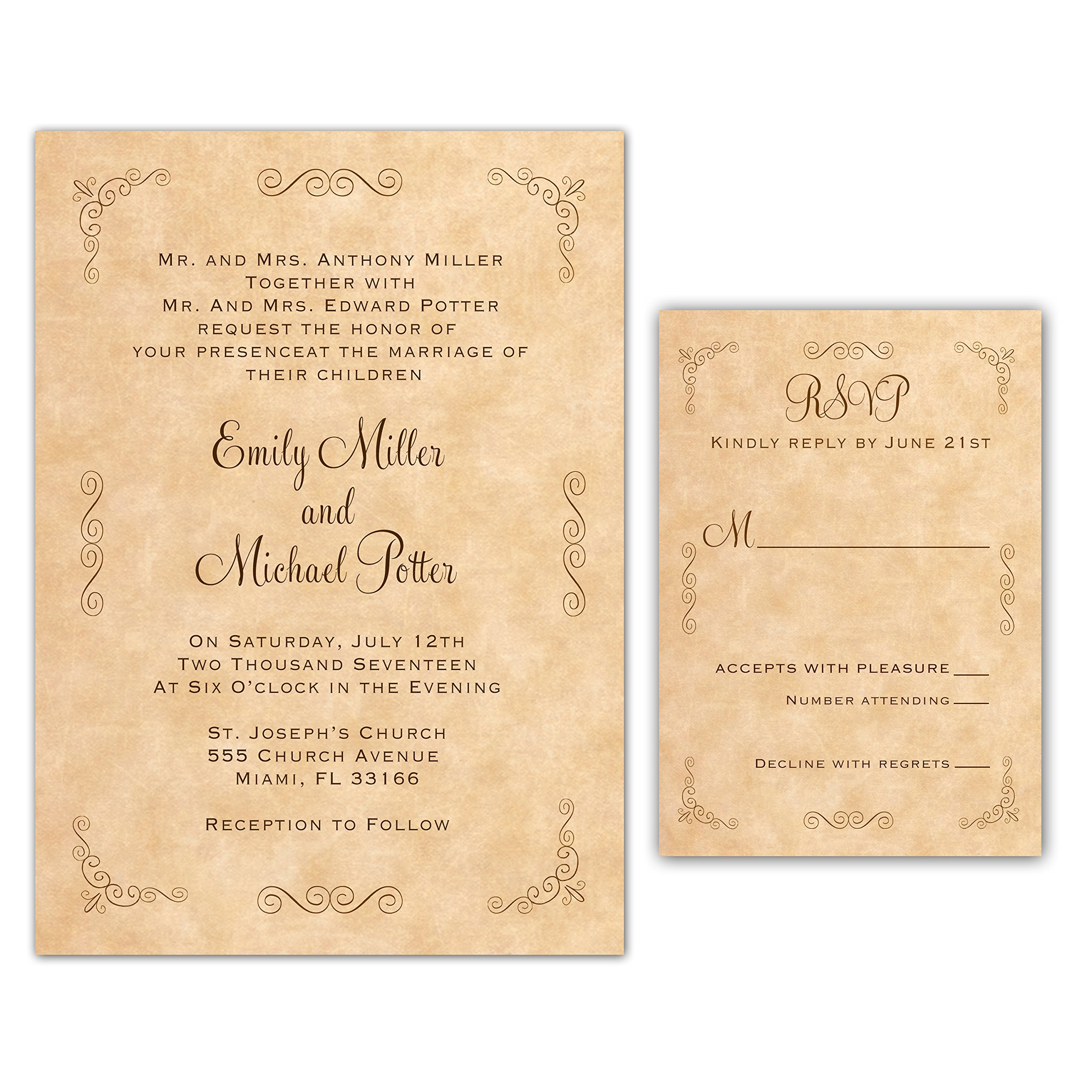 100 Wedding Invitations Rustic Country Style Vintage Design + Envelopes + Response Cards Set