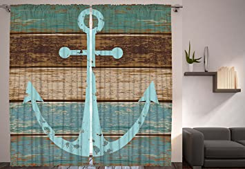 Rustic Decor Nautical Anchor Wooden Planks Curtains Coastal For Home Bedroom Living Dining Room Curtain