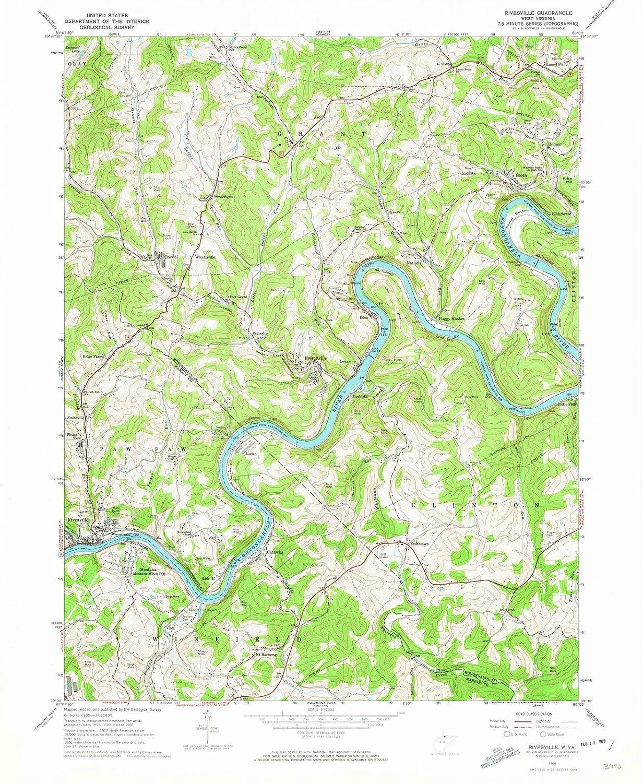 Topographic Map West Virginia.Amazon Com West Virginia Maps 1960 Rivesville Wv Usgs Historical