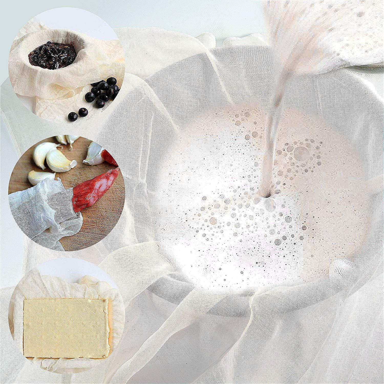 4PCS Toile /à Fromage,Mousseline Cuisine,Cheese Cloth,100/% Coton Non Blanchi Tissu Superfin /Étamine pour la Cuisine,Filtrer Les Fruits 90 X 90 cm Vordas Welecoco Etamine Le Vin Le Lait Le Beurre