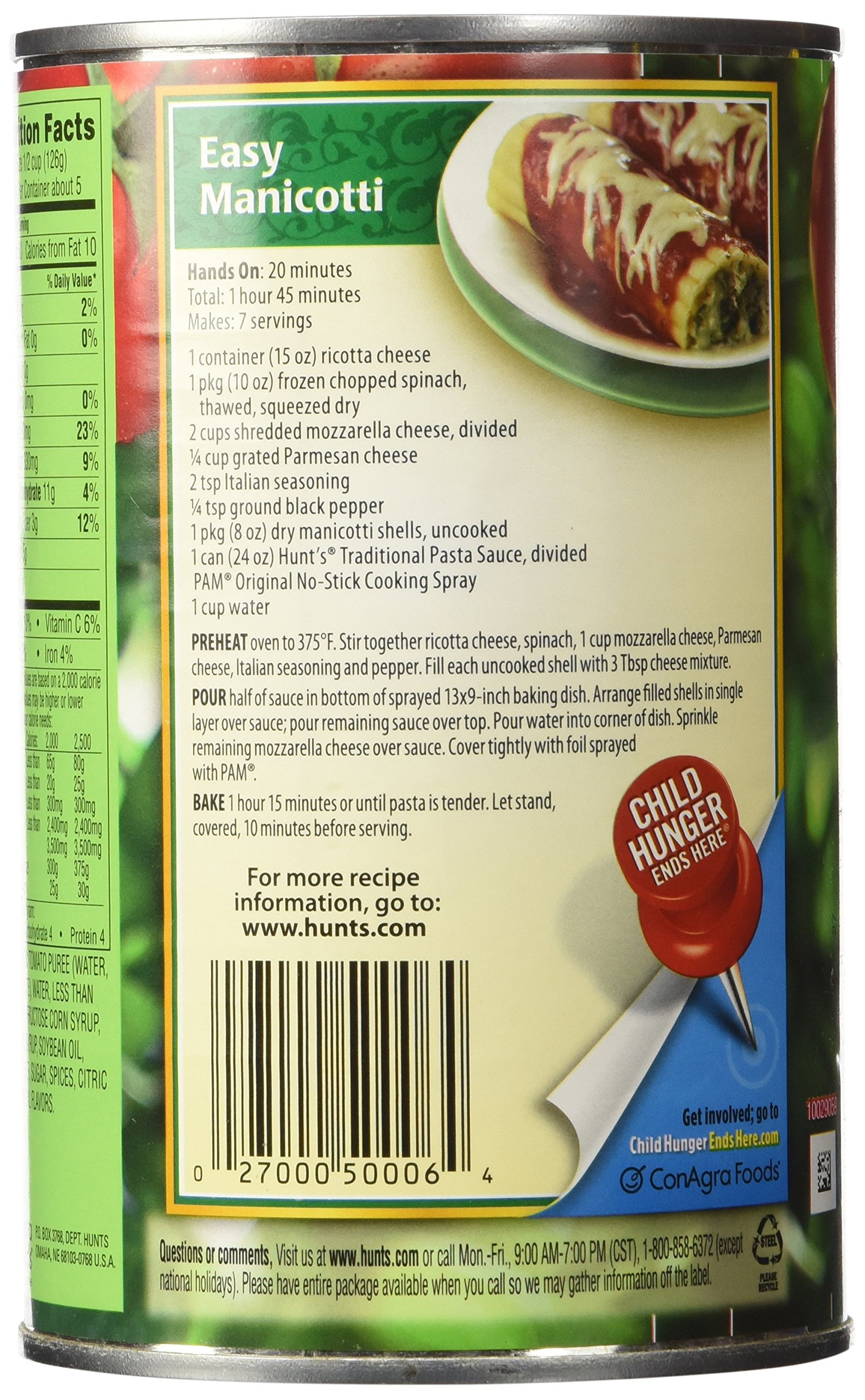 Hunt's, Premium Pasta Sauce, Traditional, 24oz Can (Pack of 6) by Hunt's (Image #5)