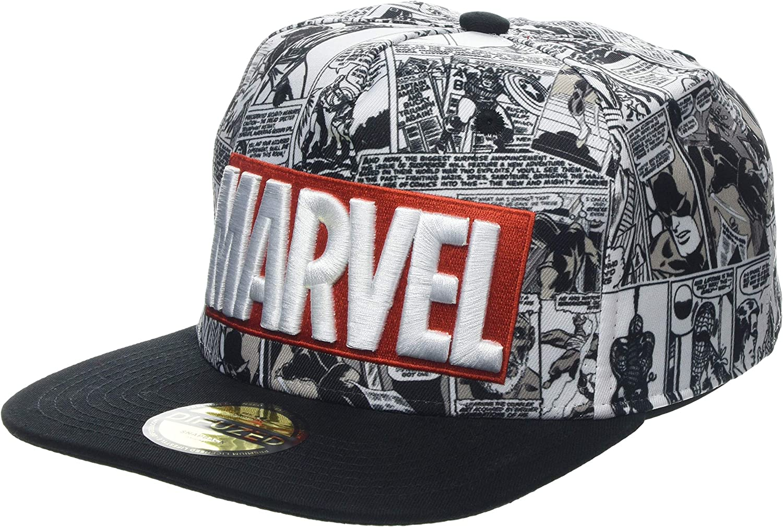 Marvel Comics Logo and Comic Pattern Snapback Baseball Cap Gorra ...