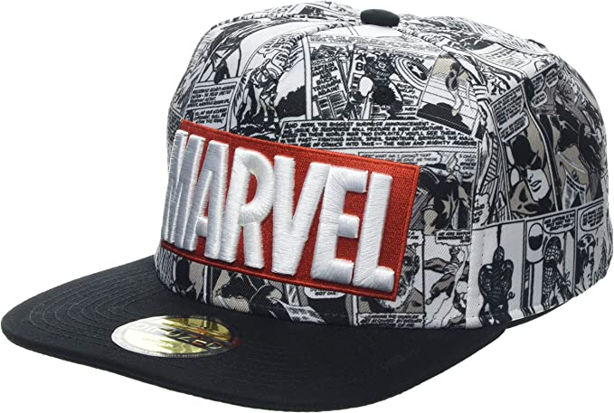 Marvel Comics Logo and Comic Pattern Snapback Baseball Cap Gorra ...