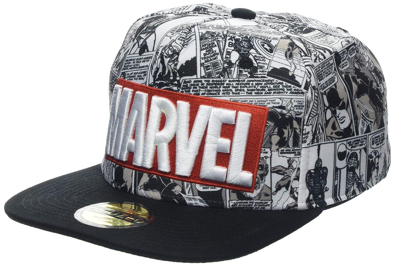 84771ba5a8eda Marvel Comics Logo and Comic Pattern Snapback Baseball Cap Grey