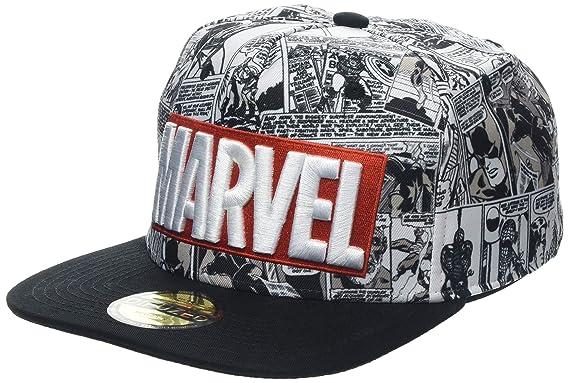 Marvel Comics Logo and Comic Pattern Snapback Baseball Cap Grey d079ead36247