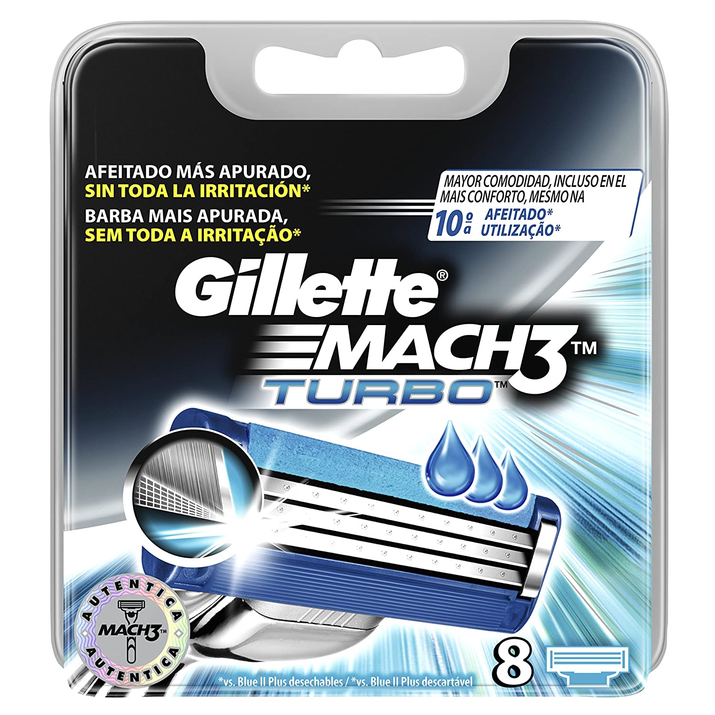 Gillette Mach 3 Turbo di ricambio rasoio da barba per uomo –  8 pezzi Procter & Gamble 7702018466467