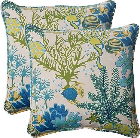 Amazon Com Pillow Perfect Outdoor Indoor Splish Splash Marina Throw Pillows 18 5 X 18 5 Multicolored 2 Pack Home Kitchen