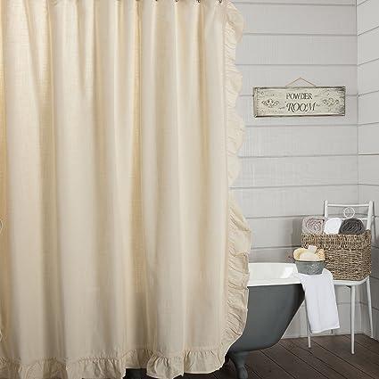Piper Classics Ashley Natural Beige Ruffled Shower Curtain 72x72 Farmhouse Style Bathroom Dcor