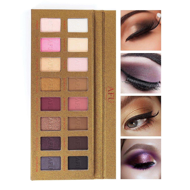 AFU High Pigmented Eyeshadow Palette Matte + Shimmer 16 Colors Makeup Natural Bronze Neutral Smokey Blendable Waterproof Eye Shadows Cosmetic - P-12