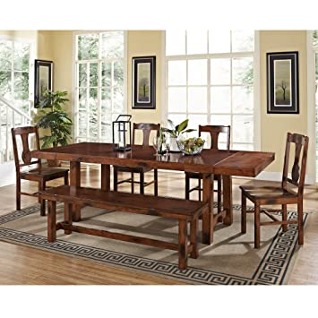 6 Piece Solid Wood Dining Set, Dark Oak