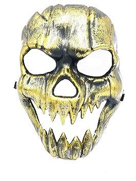 Máscara Máscara Niño Esqueleto Calavera muerte oro accesorio Halloween Carnaval Ojos Viso Viso Intero